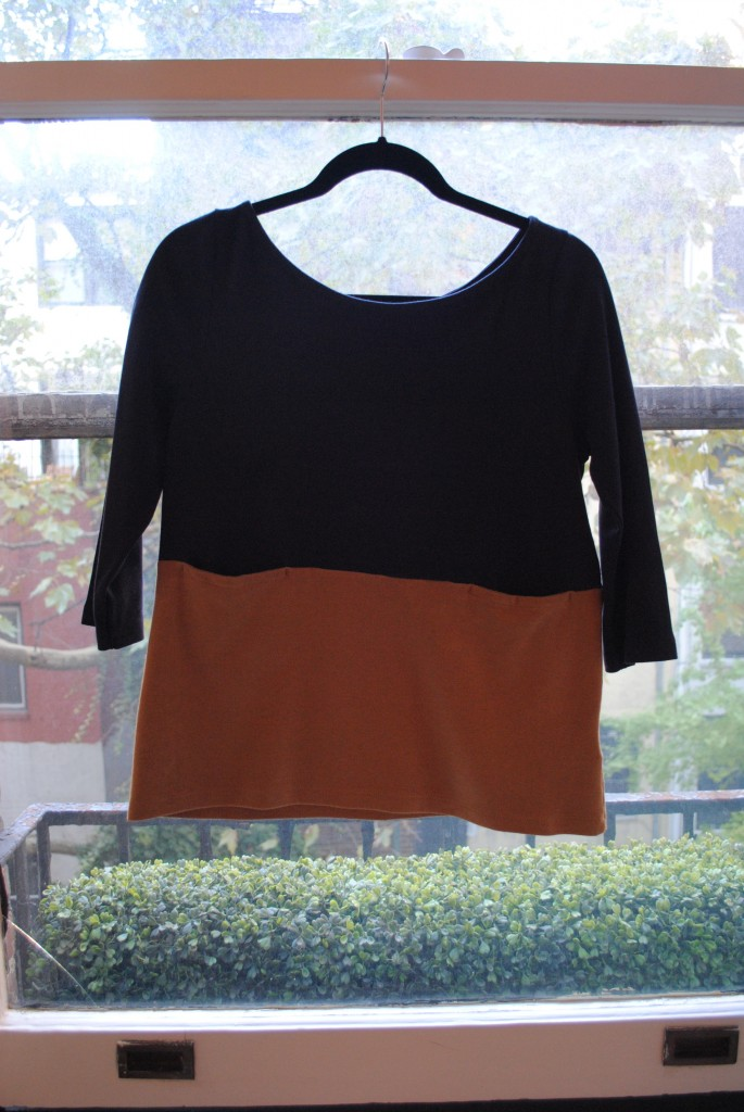 Brown and Navy top.