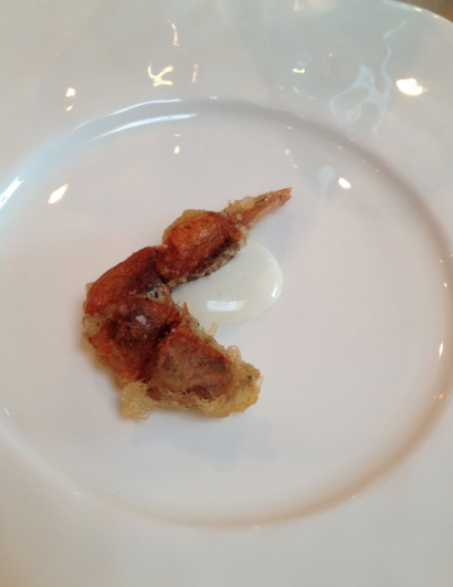 Soft shell crab claw w yogurt