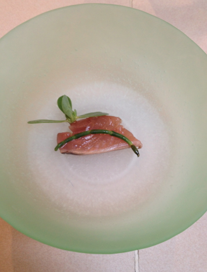 Bonito with persellane and sea bean
