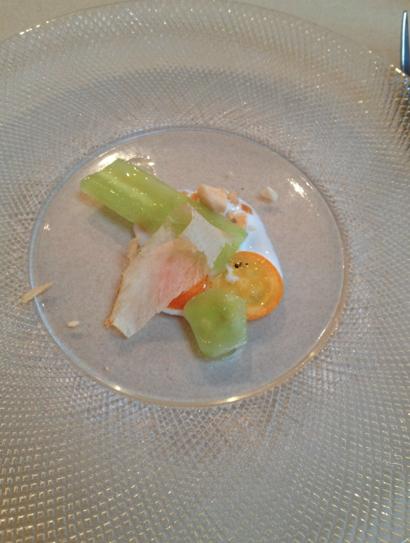 Celtuce w kefir w shaved almond goat kefir tuna flake