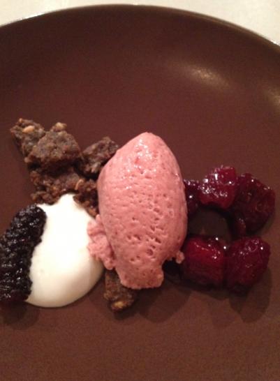 Sorrel granita Cherries, craime fraiche, hempseed crumble, mulberry