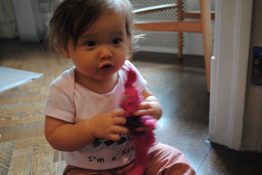 Baby Zoe with the pink bunny.
