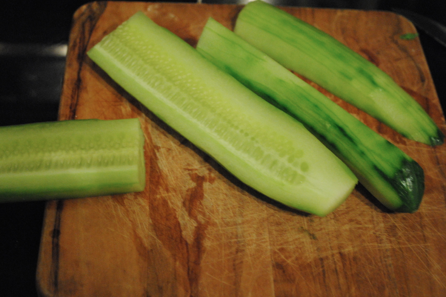 Slice the cucumbers.