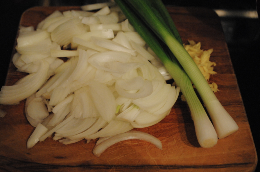 Ginger, onion, scallions! chop chop chop