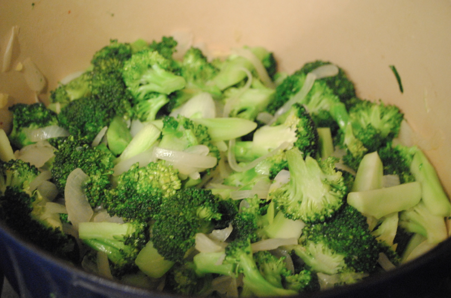 Broccoli, ginger, and onions in pan!