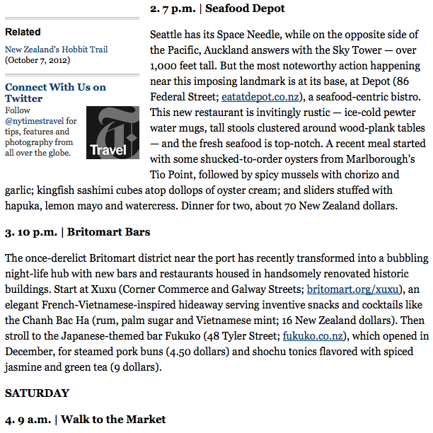 Example of a column from this past Sunday (May 26th), 36 hours in Auckland, New Zealand!