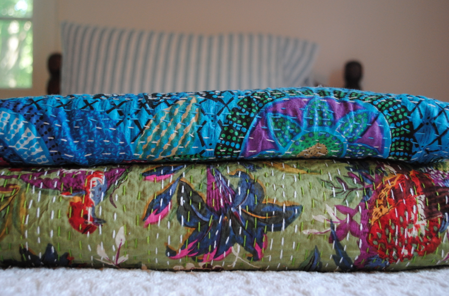 Our two quilts for the twin beds.