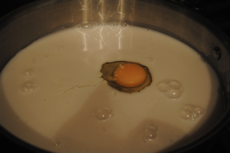 I didn't listen to my own directions and simply placed the egg into the mixture before beating the egg. WRONG, beat the egg before you place it in the milk mixture.