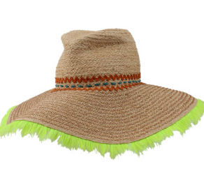I love this wide brimmed hat with neon accent.