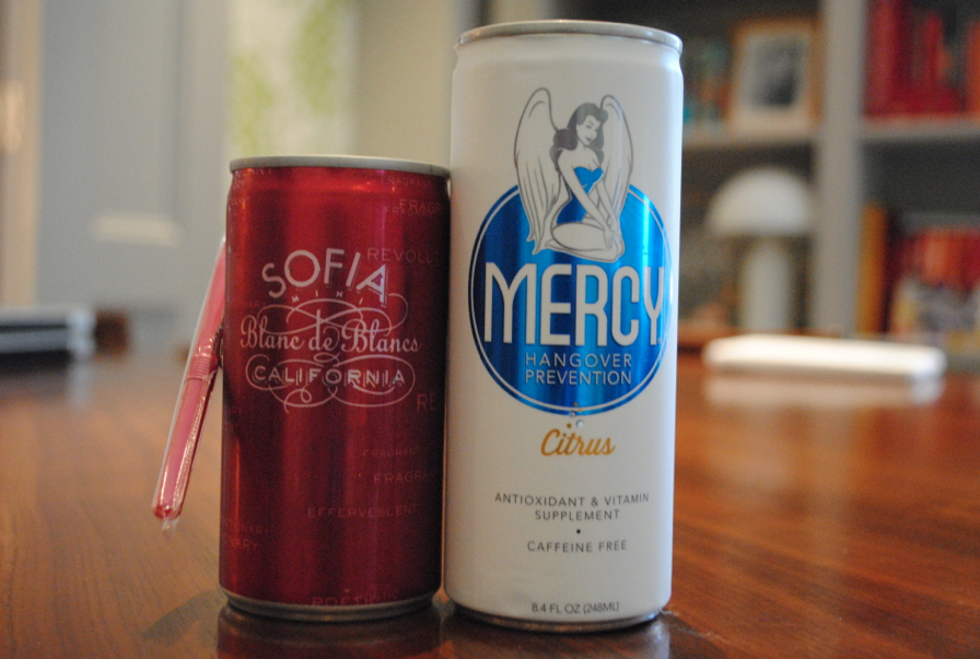 Need a gift for a friend? A perfect pair -- can of champagne matched with a can of Mercy.