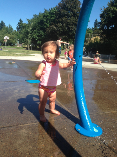 Little girl is just starting to walk and would get herself stuck with water spraying everywhere. She was a good sport!