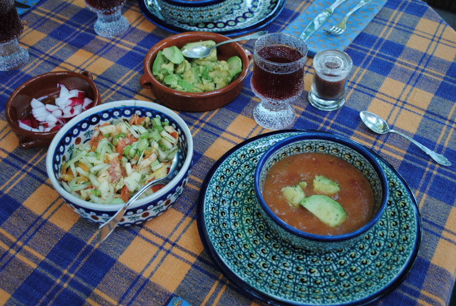 The first courses -- a cold tomato soup (with avocado and radishes on top) and a fennel and citrus salad.