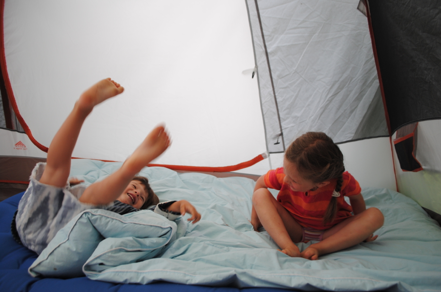 We set up a tent in the backyard for the cousins to sleep in.