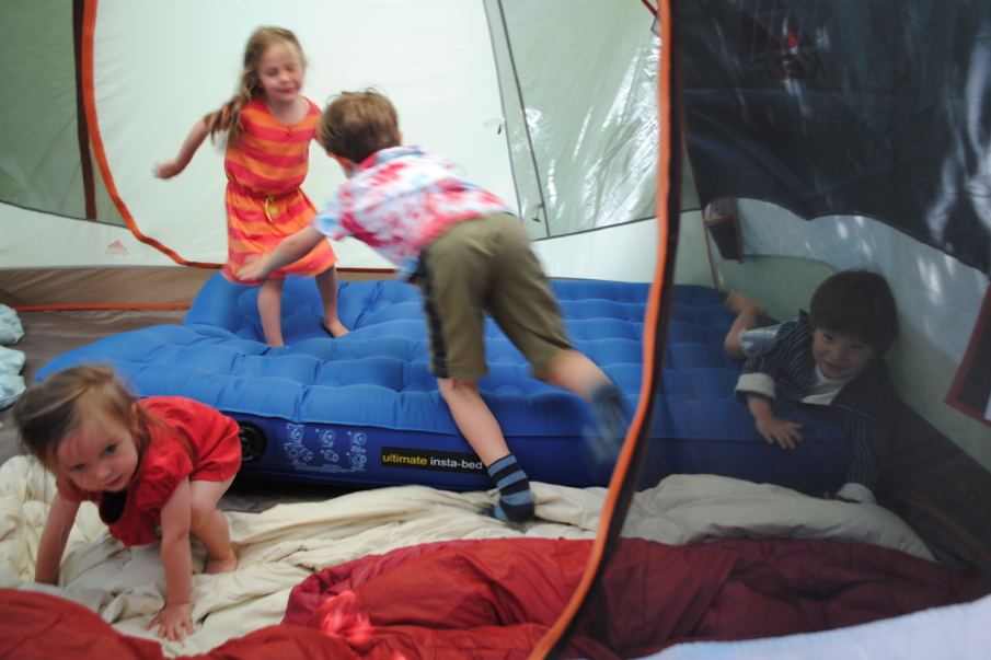 The tent was a built in babysitter. tent = awesome.