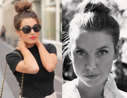 Everyone looks good with a top knot and some red lips! It ooooozes hipness.