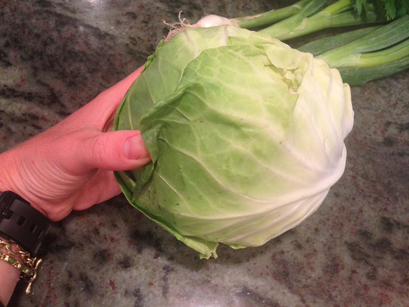Head of cabbage. Just like with everything, the better quality the ingredients, the better the recipe. In this case, this fresh head of cabbage was from the box of veggies from the CSA and it was absurdly delicious.