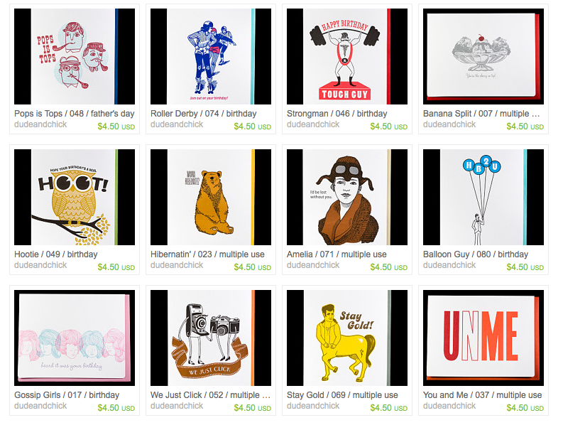 More selection of cards on etsy.