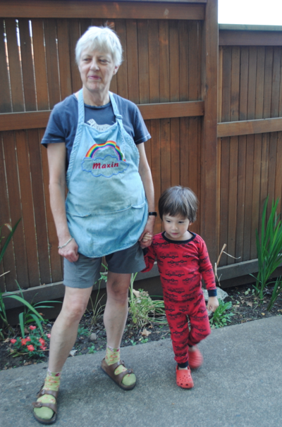 Yes, this is my mom is a very fashionable outfit consisting of birkenstocks, green socks, and an apron with her name incorrectly spelled. But she is the most incredible grandmother, mother, chef, and master of everything. I swear she is fashionable, too.