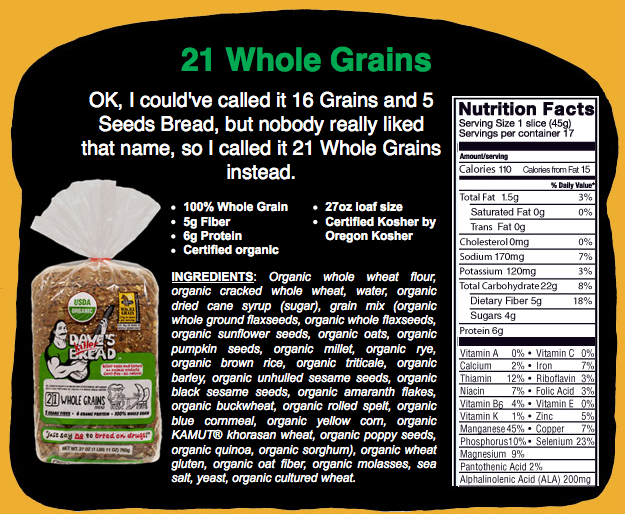 21 whole grains: 15 grains and 6 seeds!