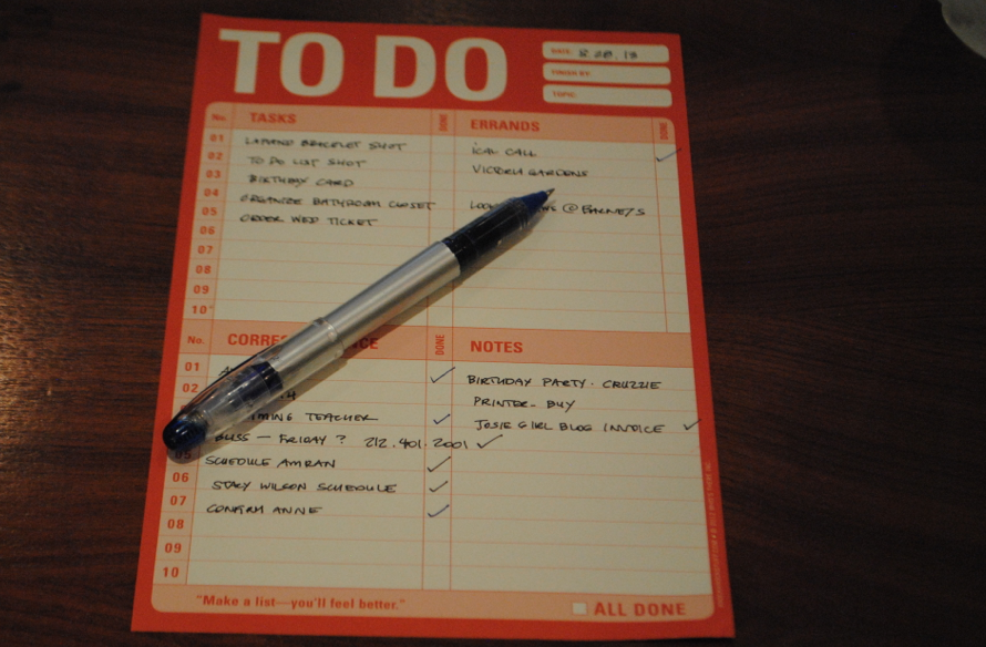 2013 Current day to-do list.