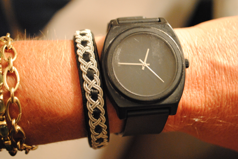 With watch.