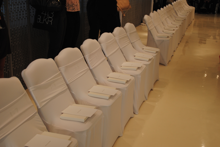 Chairs all lined up.
