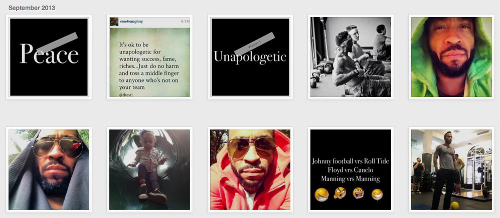 A shot of his multiple-a-day posts on Instagram. A mixture of fitness, words of wisdom, family, food, and fun. The perfect balance.