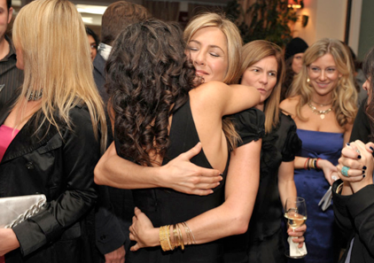 Hugging it out with friend and yogi Jennifer Ashton.
