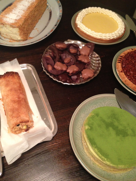 Dessert -- the green pie is a green tea mille feuille from Lady M.