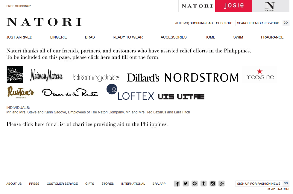 Natori donation recognition page