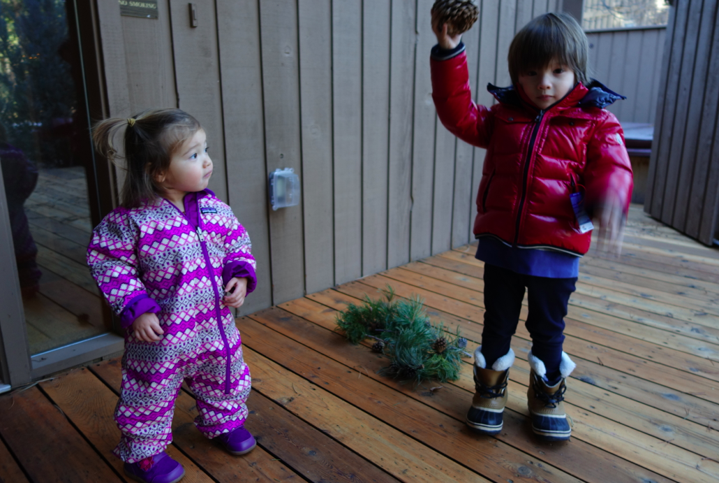 Playing with pinecones = extra special time.