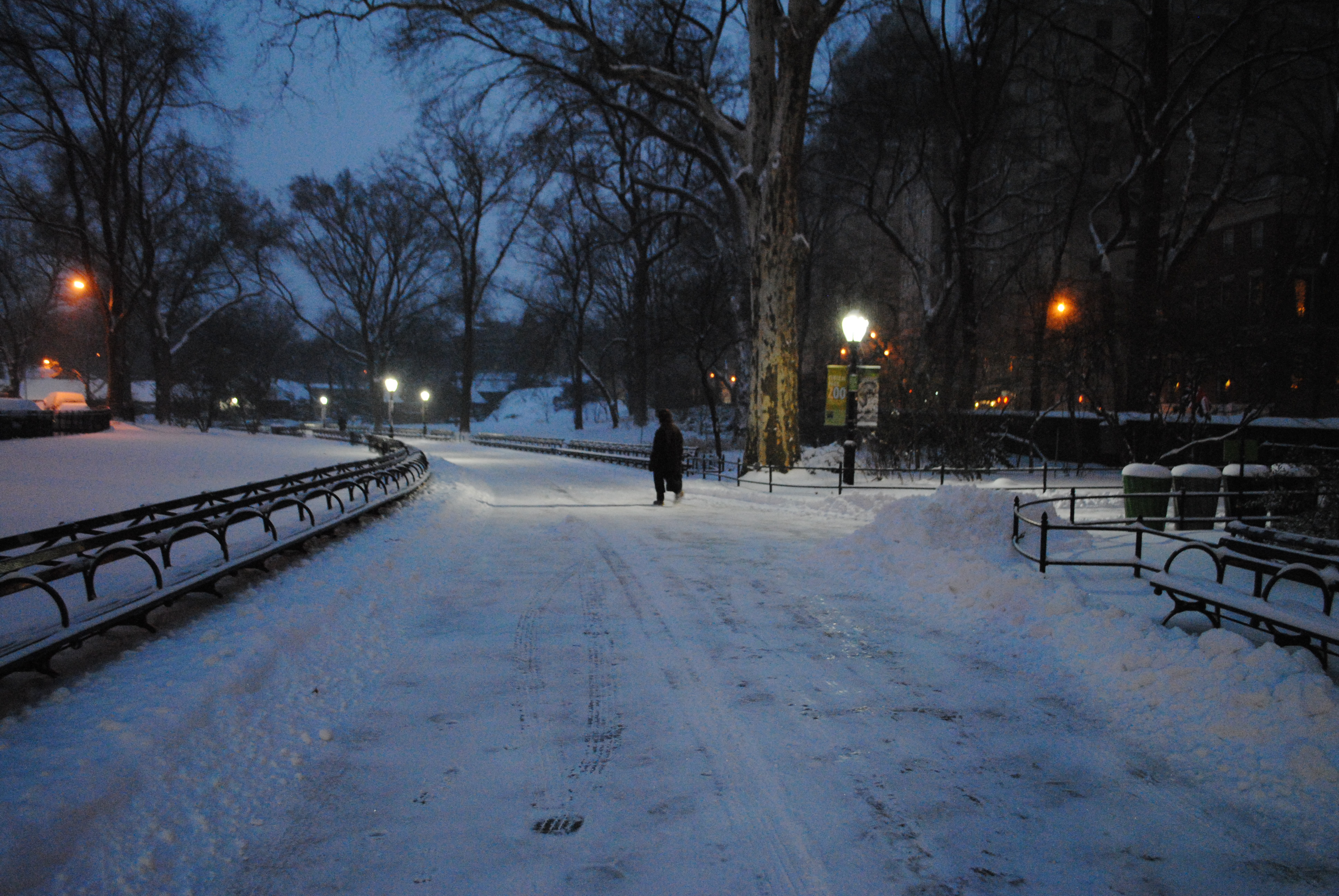 Most of the walkways were already plowed at 6:30!  Still skiiable.