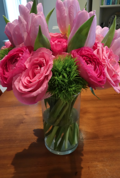 I woke up to these beautiful flowers from the flu. These of course put a smile on my face.