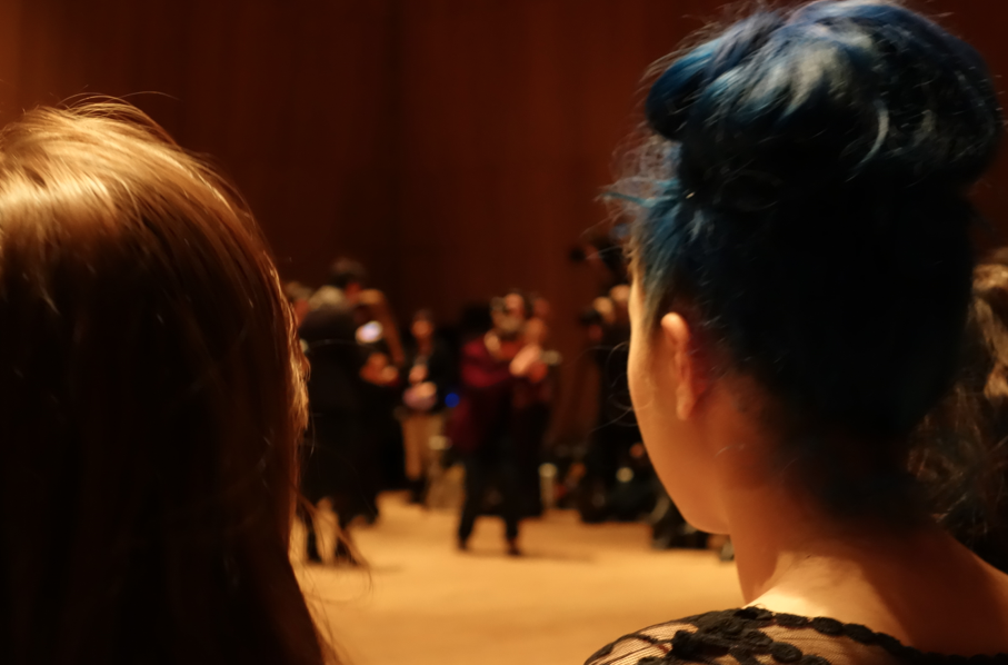 My view. Apparently, I am not a VIP at the Natori fashion show (1st world problems), and so I was seated in the back. But I did get to stare at a beautiful BOLD babe with Blue hair.