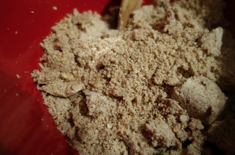 Pulse. (Don't blend too much or you will make almond butter versus almond flour).
