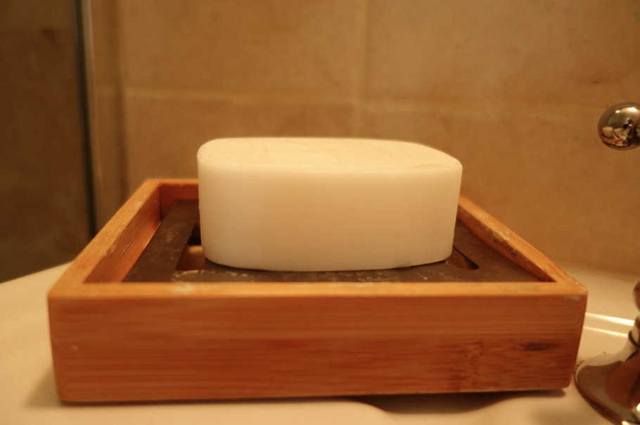I know that it is just soap -- but I can't speak highly enough of this little bar of soap. It is foamy, light, moisturizing, and smells delicious. Just a hint of coconut.