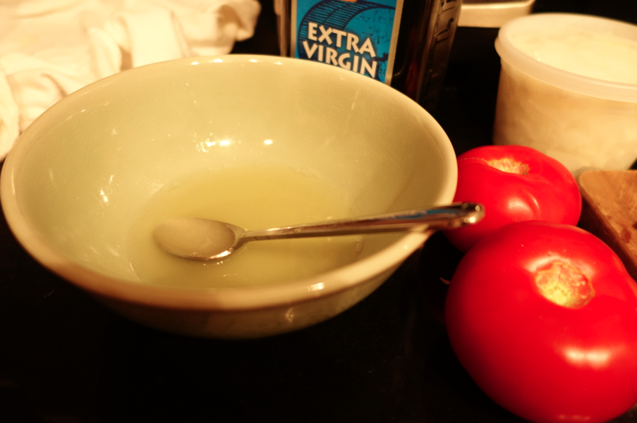 Equal parts lemon, olive oil, and vinegar.