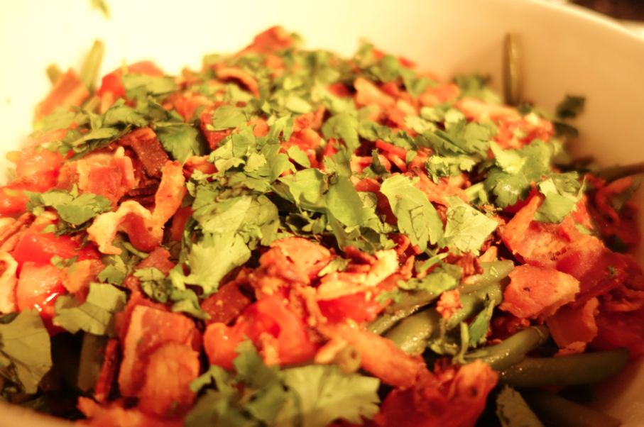 Add parsley at top and mix all together.