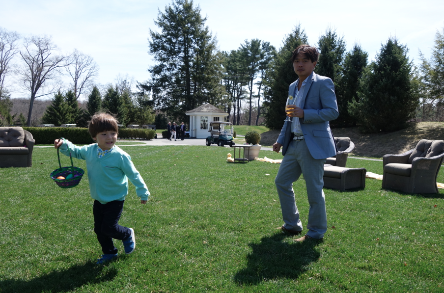 Easter egg hunt. Cruzzie asked if there would be toys in the eggs as he wanted toys instead of candy. SNOB.