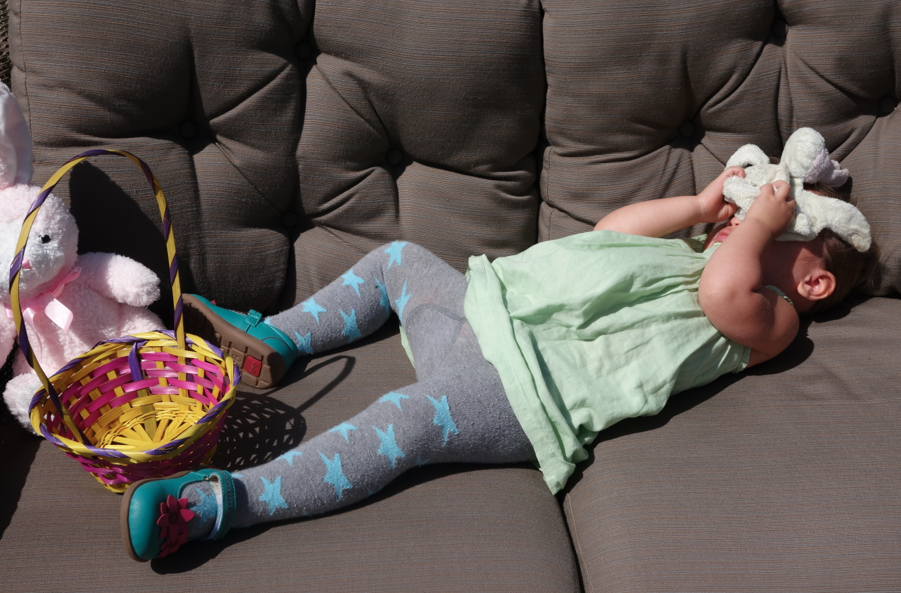 Toosh was scared of the Easter Bunny and threw herself on the couch and wanted nothing to do with the egg hunt or the easter bunny.