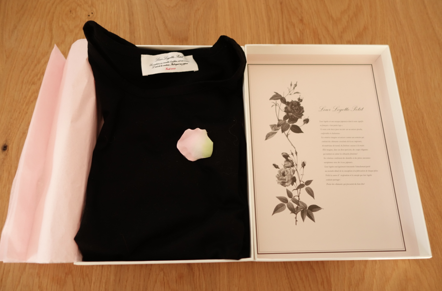 Inside the box. Pink tissue paper and (fake) rose petals adorned the shirt. CLASSY.