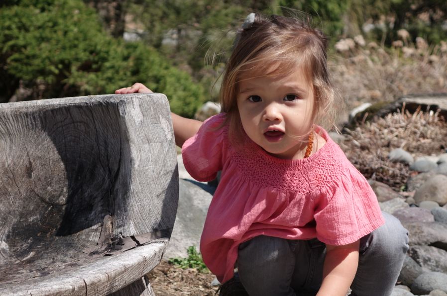 Almost 2, and already throwing mega-fits, this little cutie ALSO decides to not listen to her papa and (dangerously walks) on the rocks without supervision and shoes on.
