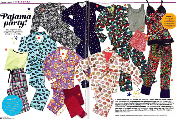 Boho pajamas featured in the Rachel Ray Magazine this past March (2014). Upper right corner. Must haves!