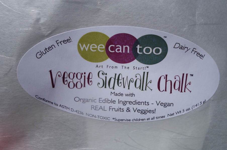 The label of my favorite product, the veggie sidewalk chalk. CHALK made with veggies. My favorite combination.