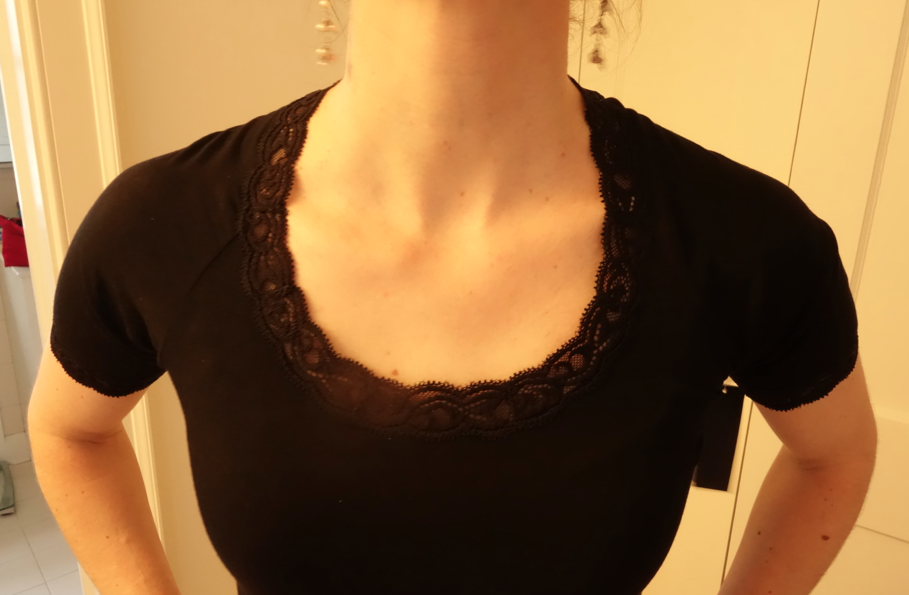 Elegant and lacey neckline.