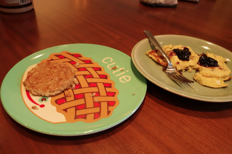 His and hers. Oatmeal (leftover oatmeal made into a pancake) and my faux pancake.