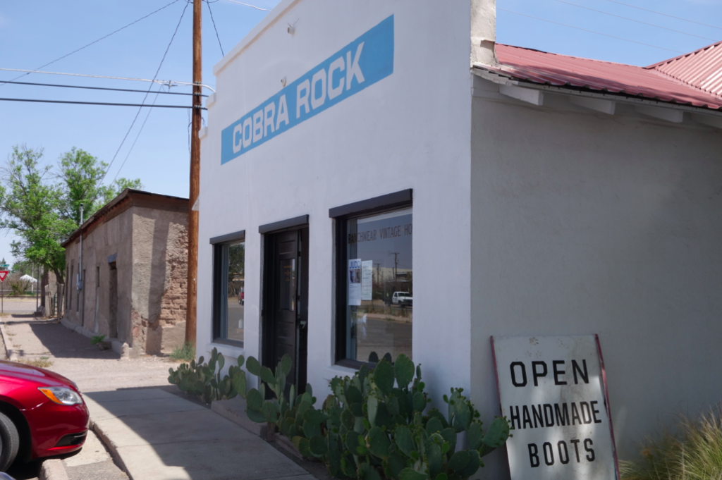 Cobra Rock is a well known leather boot store in Marfa. Worth the visit.