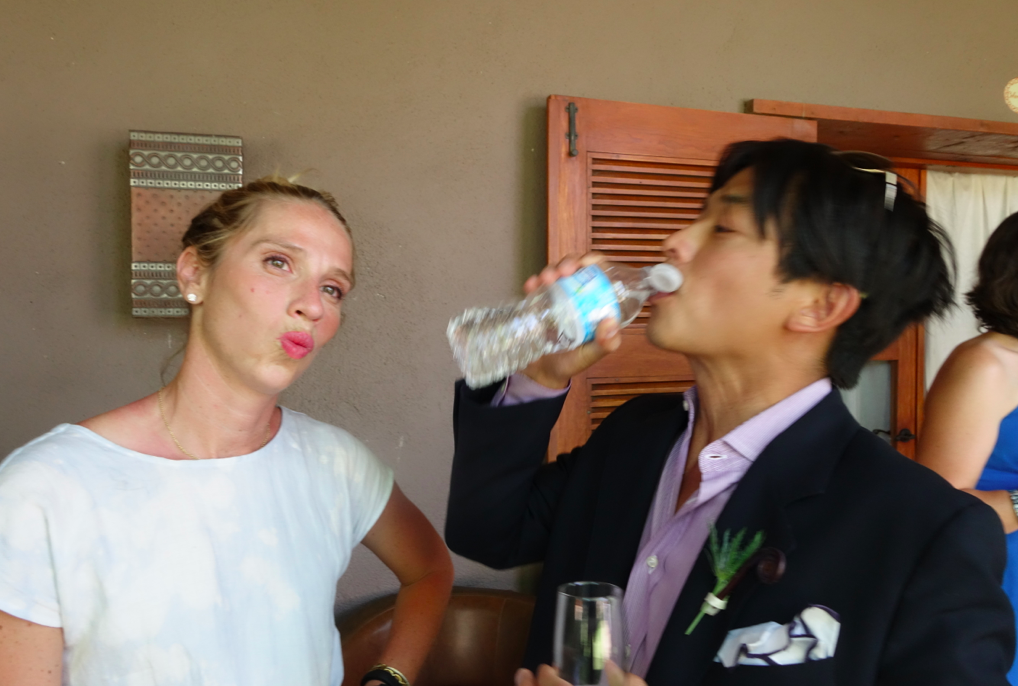 Cocktails before the wedding. Chugging water.