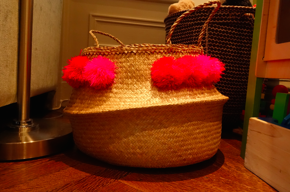 The pink pom pom basket.