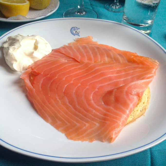 Smoked salmon on top of a (gigantic) bellin, with creme fraiche on the side. Rich, filling, and beyond delicious.